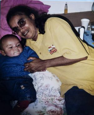 Mother and son … Donna Thomas with baby Daniel.