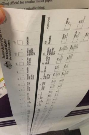 Senate ballot paper at 2013 election booths.