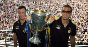 West Coast coach John Worsfold and then captain Chris Judd with the 2006 premiership cup.