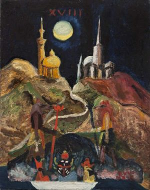 Esoteric: Aleister Crowley's The Moon (Study for Tarot) 1920, oil on board.