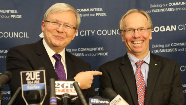 Former Prime Minister Kevin Rudd announcing Peter Beattie would stand for the federal seat of Forde.