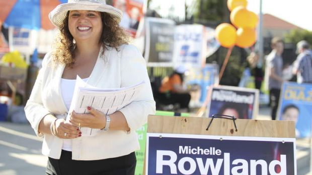 Triumph: Michelle Rowland, likely re-elected MP for Greenway, outside Caddies Creek Public School at Glenwood.