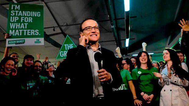 Adam Bandt speaks on a live cross from the Greens election event at the People's Market, West Melbourne.
