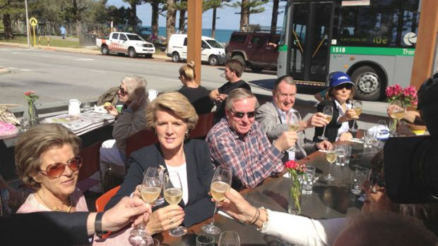 Liberal member for Curtin and expected foreign minister, Julie Bishop and WA Premier Colin Barnett celebrate in Cottesloe.