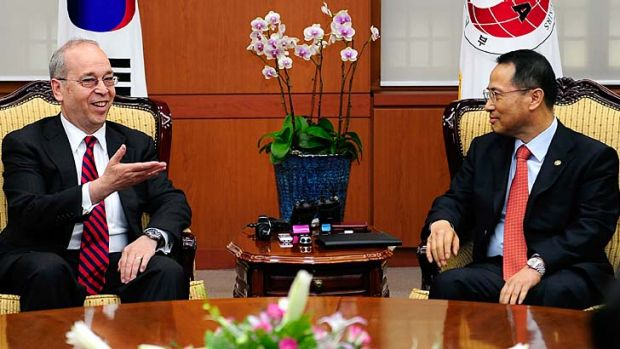 Co-operation: Daniel Russel, left, the US assistant secretary of state for East Asian and Pacific affairs, with Kim ...