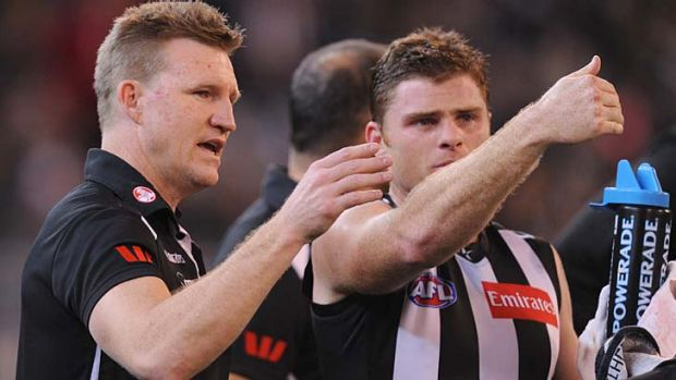 Heath Shaw with former coach Nathan Buckley.