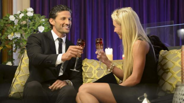 <i>The Bachelor</i>'s Tim Robards with a contestant who didn't get through.