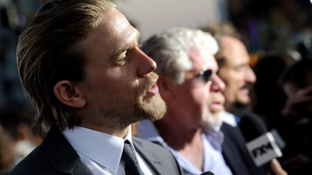 Charlie Hunnam faces the press at the premiere of <i>Sons of Anarchy</i> Season 6 in Hollywood, California.  Co-stars ...