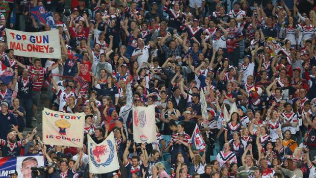 Turning out in numbers: The Roosters supporter bay has been extended from one bay to 14 bays.