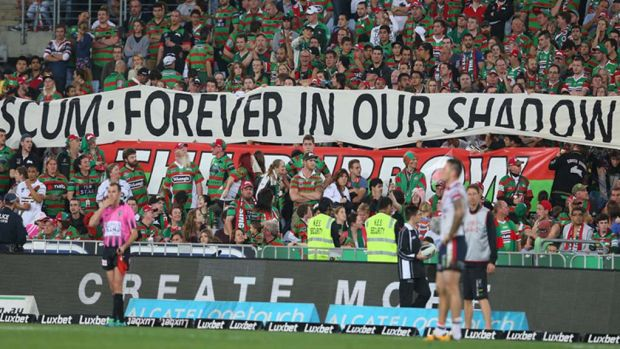 Warren's view: The banner displayed among a group of Souths fans during Friday night's match has drawn criticism and ...