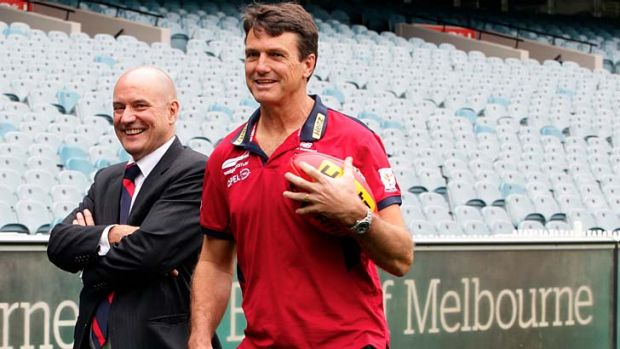 Paul Roos with Melbourne chief executive Peter Jackson after being announced as the club's new coach.