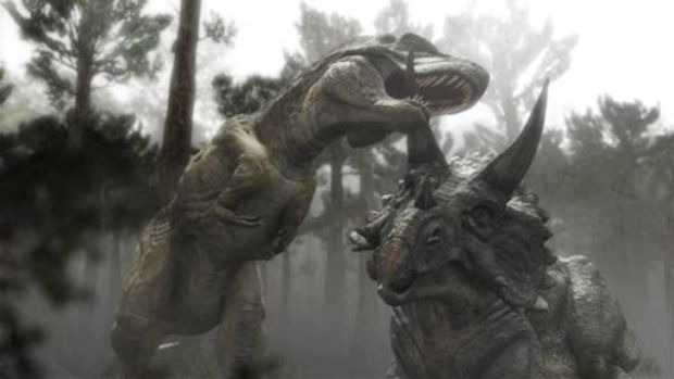 A tyrannosaurus rex and a triceratops do battle in a scene from Jurassic Park 4.