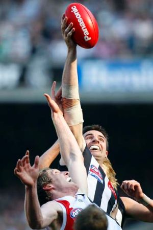 Magpies ruckman Darren Jolly played a pivotal role in Collingwood's 2010 triumph.
