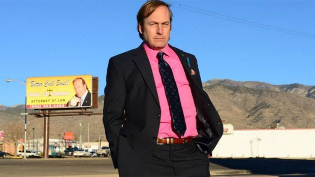 Sick of being under fire ... Saul Goodman in a bullet-proof vest warning.