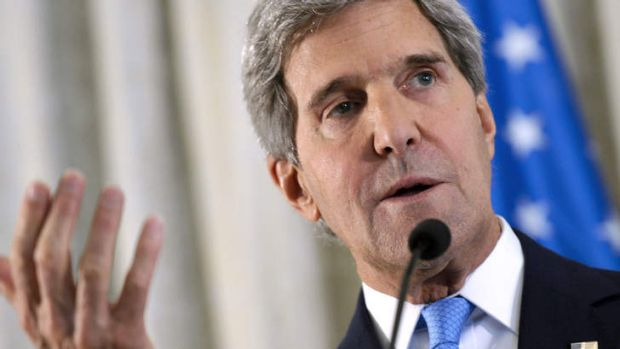 Was it a gaffe? US Secretary of State John Kerry speaks to the media at the US embassy in Paris on Sunday.  In London, ...