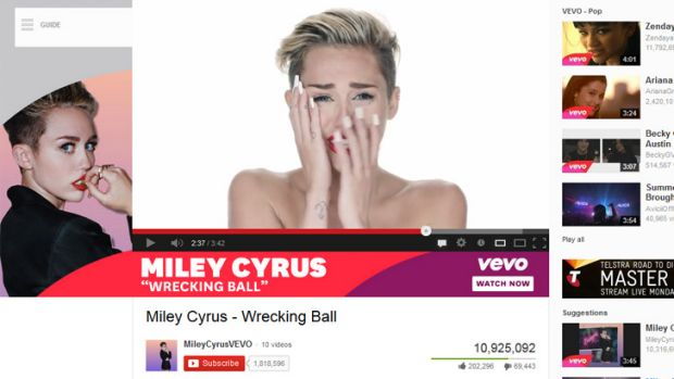 A screen shot of YouTube, 14 hours after the posting of Miley Cyrus' new official video, <i>Wrecking Ball</i>.