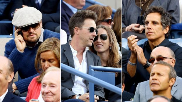 Stars galore: (from left) Leonardo DiCaprio; Edward Norton and wife Shauna Robertson; Ben Stiller at the US Open.