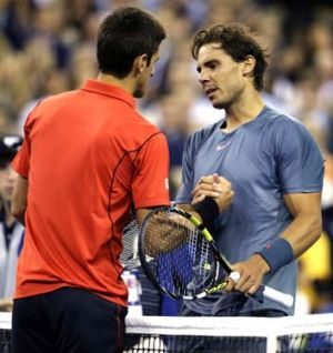 Respect: Djokovic congratulates Nadal.