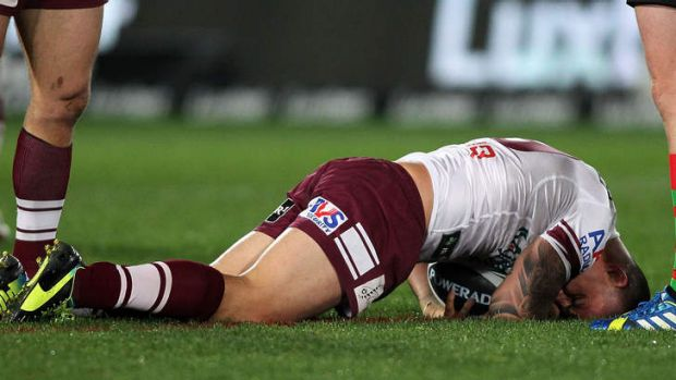 Back in action: Star Manly back-rower Anthony Watmough feels the pain of a knee injury.