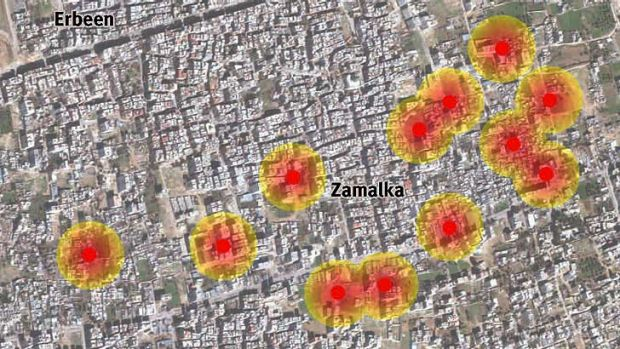 Map of the 330mm chemical rocket impact locations in Zamalka neighbourhood.