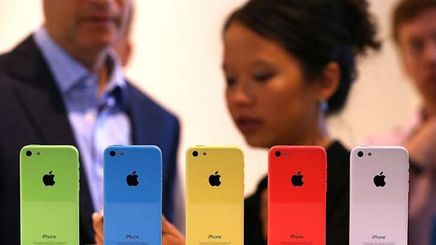 Unveiled: The new iPhone 5C is displayed at the Apple campus in California.