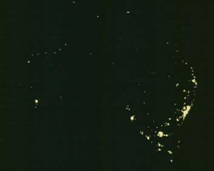 Australia's light sources at night.