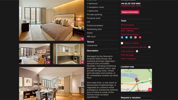 The online ad for the one-bedroom apartment at One Hyde Park.