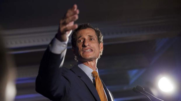 Democratic mayoral hopeful Anthony Weiner makes his concession speech at Connolly's Pub in midtown Tuesday, September ...