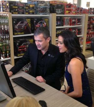 Paul Zahra and Megan Gale at the opening of the David Jones store in Malvern.