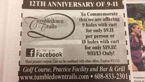 In bad taste: Tumbledown Trails Golf Course received death threats.