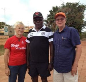 Search team … Ian McIntosh (at right) with Marchinbar traditional owner Terry Yumbulul and Yumbulul's wife Clely in ...