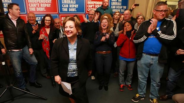 At home with the faithful: Sophie Mirabella in Wangaratta on election night.