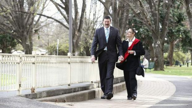 Former member for Eden Monaro Mike Kelly with his wife Rachelle Sakker-Kelly  after announcing his defeat to the Federal ...