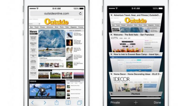 How Safari displays browser tabs in iOS 7.