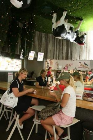 Mooving south: Wow Cow yoghurt shop.