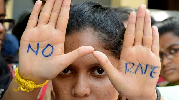 Indian students of Saint Joseph Degree college participate in an anti-rape protest in Hyderabad.