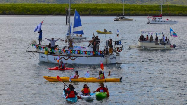 Mission partially completed: The Freedom Flotilla to West Papua beginning its epic journey.