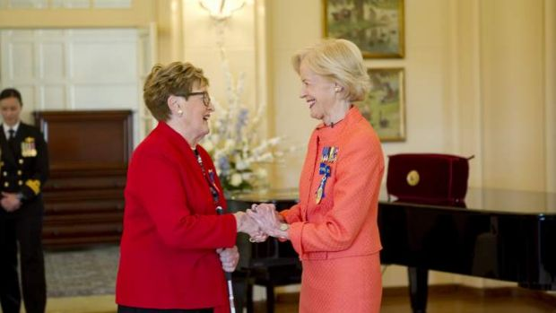 Awarded the Medal in the General Division, Ms Elizabeth Dawson and The Governor-General the Honourable Quentin Bryce AC.