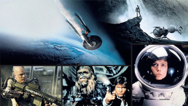 Clockwise from top left: Star Trek: Into Darkness; Oblivion; Sigourney Weaver in Alien; Chewbacca and Han Solo from Star ...