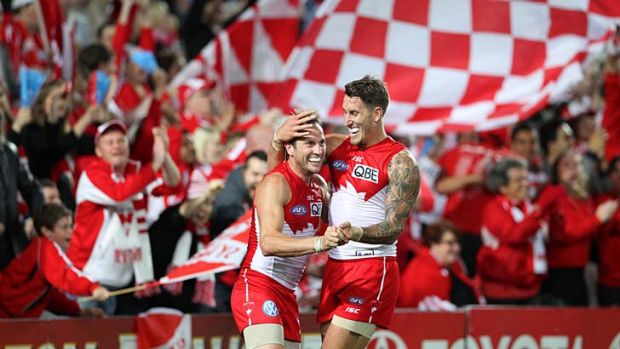 Cheer, cheer the red and the white: Jude Bolton and Jesse White celebrate a Sydney goal against Carlton at ANZ Stadium ...