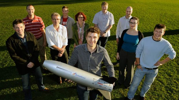 The University of Queensland's Scramspace team - Russell Boyce, Brad Sharp, Paul van Staden, Michael Creagh, Bianca ...