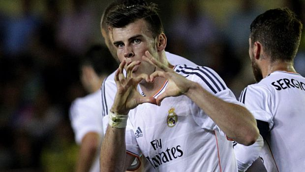 Gareth Bale celebrates his first goal for Real Madrid.