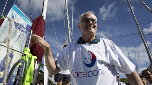Malcolm Turnbull was all smiles at the Faceboat campaign launch for Sailors with disABILITIES at Darling Point on Sunday.