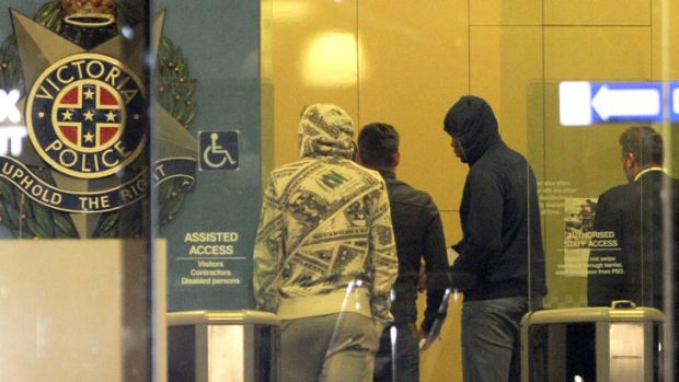 Members of Southern Stars leave St Kilda Road Police Station early Monday morning.