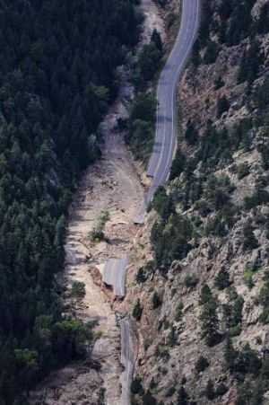 A washed-out portion of the road to Jamestown, Colorado.