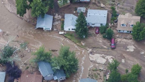 An aerial photo of a flood-affected area of northern Colorado along the Big Thompson River which has been declared a ...