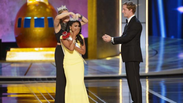 Nina Davuluri is crowned Miss America at a ceremony in Atlantic City.