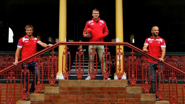 Sydney Swans players (L to R) Kieren Jack, Dan Hannebery, and Jarrad McVeigh at the Sydney Cricket Ground. They have ...