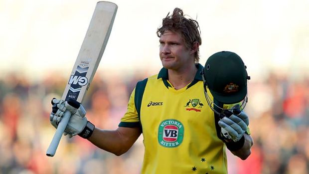 Shane Watson of Australia acknowledges the crowd after his century.