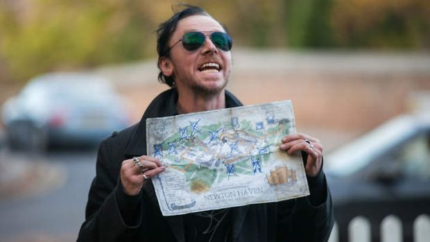 Simon Pegg in a scene from his recent movie The World's End.